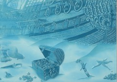 БерезаКерамика декор Лазурь Корабль 7 бирюзовый 25x35