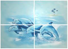 БерезаКерамика декор-панно Лазурь Дельфины бирюзовый 50x70