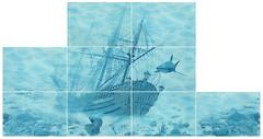 БерезаКерамика декор-панно Лазурь Корабль бирюзовый 75x140 (комплект 9 шт)