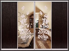 Фото Zevs Мебель Шкаф-купе четырехдверный Стандарт ДСП+Пескоструй+Пескоструй+ДСП 3200x450x2100