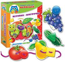 Фото Vladi Toys Пуговки-шнурочки Фрукты-овощи русский (VT1307-09)