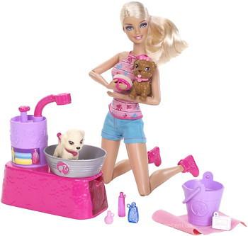 Купить Mattel Кукла Барби с набором Купание щенков (W3153) в ... 25aaa18311b