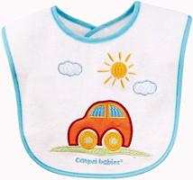 Canpol babies Слюнявчик хлопчато-клеенчатый с вышивкой Машинка/Цветочки (15/102)