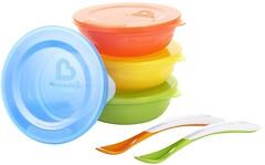 Munchkin Набор тарелок с крышками и ложками Love-a-Bowls 4 шт. (012106)