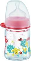 Nip Бутылочка антиколиковая стеклянная с силиконовой соской 120 мл (35066)