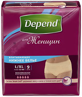Depend Трусики-подгузники для женщин L-XL (97-127 см) 9 шт