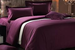 Love You Страйп-сатин темно-фиолетовый двуспальный Евро (011501)
