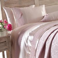 Фото Karaca Home Tugce + покрывало пике g. kurusu розовое двуспальный Евро