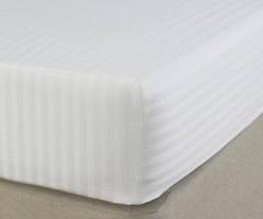 Фото Boston Textile Jefferson Простынь на резинке сатин 100x200 Sateen White Stripe (JSSF100200)