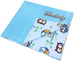 Sindbaby Плюшевый плед Minky с хлопком Совята 78x90 голубой