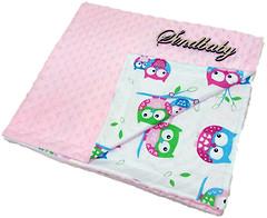 Sindbaby Плюшевый плед Minky с хлопком Совушки 78x90 розовый