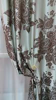 Arya Портьера Жаккард бело-коричневая 150x270 (398026 W-01)