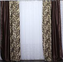 Фото VR-Textil Штора Блекаут 150x270 коричнево-бежевая (094-101Б)